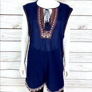Long J. Crew embroidered tunic top